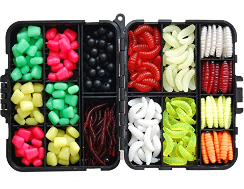 Jshanmei Ã'® 220pcs/box carp fishing tackle box artificial plastic fake baits sweetcorn/beads/worm lures imitation baits carp fishing gear kit by jshanmei
