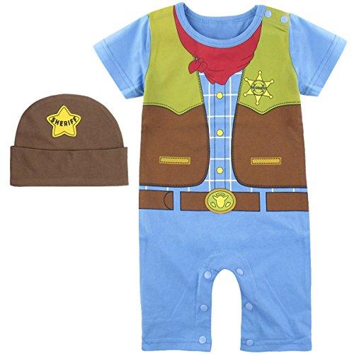 Mombebe Baby Jungen Cowboy Kostüm Strampler mit Hüte (18-24 Monate / 100, Cowboy)