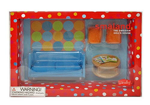 Lundby 60.2058.00 - Smaland: Divano con tavolo e sgabelli per casa delle bambole