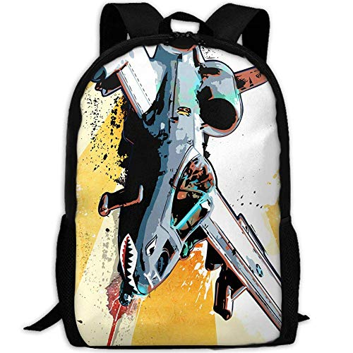 shuangshao liu Fighter Jet Shark Painting Unisex Adult Custom Rucksack,School Leisure Sports Book Bags,Durable Oxford Outdoor College Laptop Computer Shoulder Bags,Lightweight Travel Tagesrucksäcke