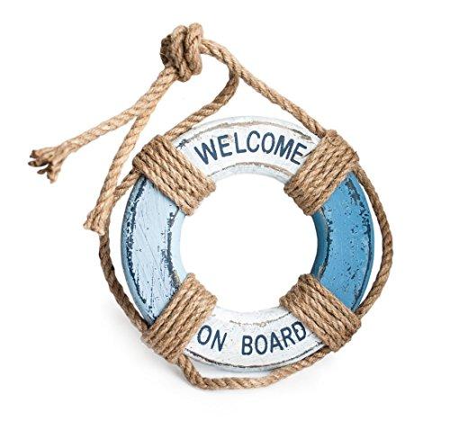 Deko Anhänger Rettungsring aus Holz mit Sisal zum Hängen weiß blau, Ø 18,5 cm, Sommerdeko maritime Dekoration im Vintage Landhausstil (Holz-rettungsring)