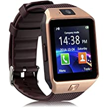 smartwatch ZKCREATION Bluetooth reloj inteligente DZ09 smartwatch sim Rastreador fitness smartwatch hombre pulsera actividad inteligente whatapp cámaras waterproof Compatible con Android e IOS(Oro)