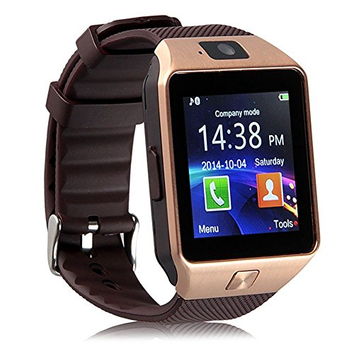 Montre Tactile ZKCREATION smartwatch Bluetooth Montre Intelligente Montre Telephone Montre connectée Homme DZ09 Montre Connect e Traqueur de Fitness Waterproof Compatible avec Android et iOS(Or).