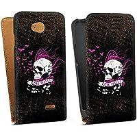 LG L70 Tasche Hülle Flip Case Skull Totenkopf Black