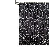 SonMo Duschvorhang Geometrie Runden Polyester Schwarz Anti-Schimmel Anti-Bakteriell Wasserdichtbadezimmer Vorhänge mit Duschvorhangringen Verdicken 150×180CM