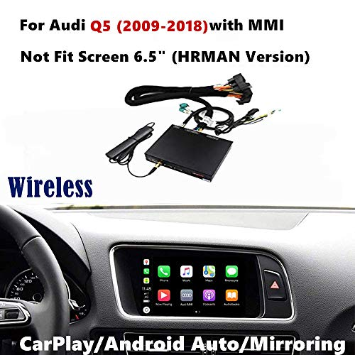 Drahtlose Carplay Android Auto Empfänger Box Kompatibel für Audi Q5 / S5 2009-2018 Original Bildschirm (AirPlay, Goolge GPS, Mirrorlink, Reverse Track) (Auto Audio Wireless Airplay)