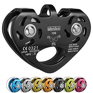 ALPIDEX Seilrolle Tandem Pulley Power 2.0 Tandemrolle Umlenkrolle, Farbe:schwarz