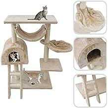 Todeco Árbol para Gatos, Escalador para Gatos - Material: MDF - Tamaño de la casa de gato: 35,1 x 35,1 x 24,9 cm - 100 cm, 5 plataformas, Beige