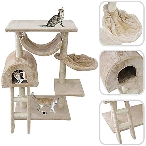regalos kawaii gato Todeco - Árbol para Gatos, Escalador para Gatos - Material: MDF - Material de revestimiento: Terciopelo - 100 cm, 5 plataformas, Beige
