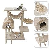 Todeco - Albero Per Gatti, Alberi Tiragraffi Per Gatti - Materiale: MDF - Dimensione casa per gatti: 35,1 x 35,1 x 24,9 cm - 100 cm, 5 piattaforme, Beige