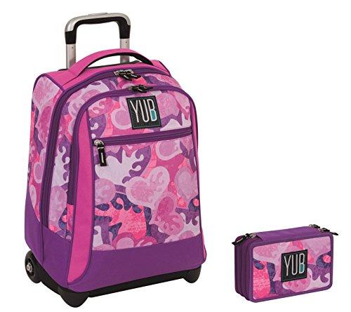 Trolley yub maxi + astuccio 3 zip - murales - rosa azzurro - spallacci a scomparsa! uso zaino scuola e viaggio