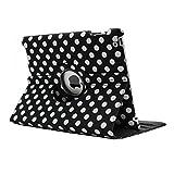 IPad 4 Case, KolorFish [iLittle] Polka Dots [Auto Wake/Sleep} Designer Funky Leather Rotation Flip Stand Book Type IPad Case Cover For Apple IPad 2, IPad 3, IPad 4 (Black)