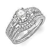 Damen Ring / Ehering 1.00 Karat 14 Karat Weißgold Rund & Baguette Diamant Damen Halo Style Verlobungsring Set 1 Karat
