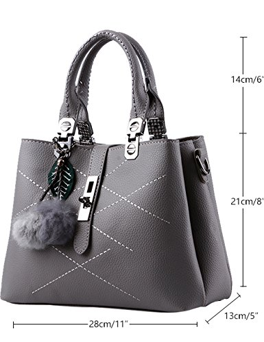 Menschwear Leather Tote Bag lucida PU nuove signore borsa a tracolla Cielo Blu Grigio