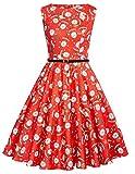 damen kleider vintage retro rot weihnachtsmann Druckweihnachtsschwingen festlich kleid L CL618-2