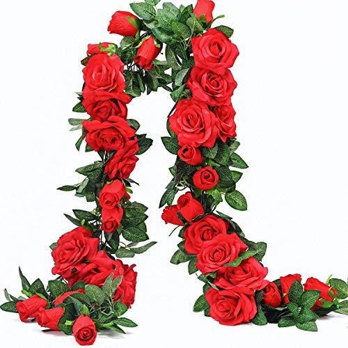 Ksnrang Künstliche Rosenranken Kunstblumen Rosen Girlande Hängende Rose Efeupflanzen für Hochzeit Home Office Bogen Arrangement Dekoration, 9 Flowers-red, 2PCS