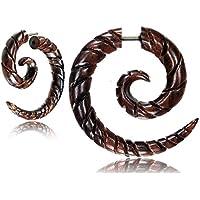 Finto Piercing a spirale, in legno, colore: marrone scuro, chiusura a strappo, in acciaio INOX - Chiusura Plug