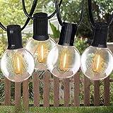 Catena Luminosa Solare Lampadina LED,Bomcosy 18ft/5.5M Illuminazione Giardino Luci Stringa Lampadina con 10+2 G40 LED Bulbi Luci Esterne Decorative del Corda,Luci del Terrazzo del Giardino