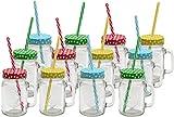 Unbekannt 12 Stück Trinkglas mit Deckel und Strohhalm Trinkhalm Country Gläser Vintage Glas Becher