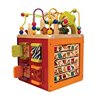 B Toys - Zany Zoo Wooden Activity Cube - Toddler Activity Center for Kids 1 Year +