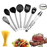 Utensilios de cocina de silicona, 7 piezas, mango de acero inoxidable, utensilios de cocina, incluyendo tornera, espaguetis, servidor, espumadera, cuchara de servir, cucharón, pinza para alimentos, batidor
