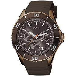 Esprit Women's Quartz Watch Deviate Analogue with Brown Dial and Brown Leather Strap ES103622007