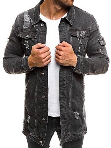 OZONEE MIX Herren Jeansjacke Übergangsjacke Jacke Denim Sweats Sweatjacke Frühlingsjacke Jeans Jacke OTANTIK 474K DUNKELGRAU M