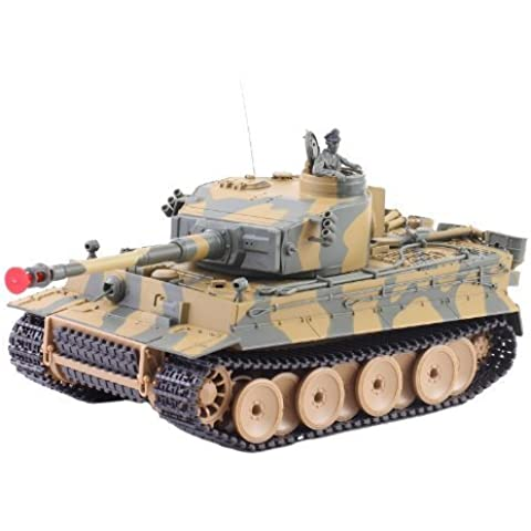 German Tiger I Battle Tank RC Sound 1/24 Model WWII Heavy Panzer with Airsoft Metal Cannon (Color may vary) by Amazing Tech Depot [Toy]