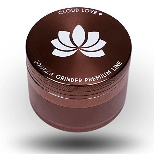 Cloud Love, Premium Grinder Crusher | groß, edel, hochwertig aus Aluminium | XL Set 4-teilig im Bronze Metall Design ø64mm | Mühle zerkleinert Tabak-waren, Kräuter, Herb, Hanf - Kräuter-hanf