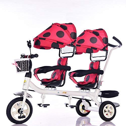 Ambiguity Passeggino,Passeggino gemellare doppio girevole monoposto pieghevole per bicicletta
