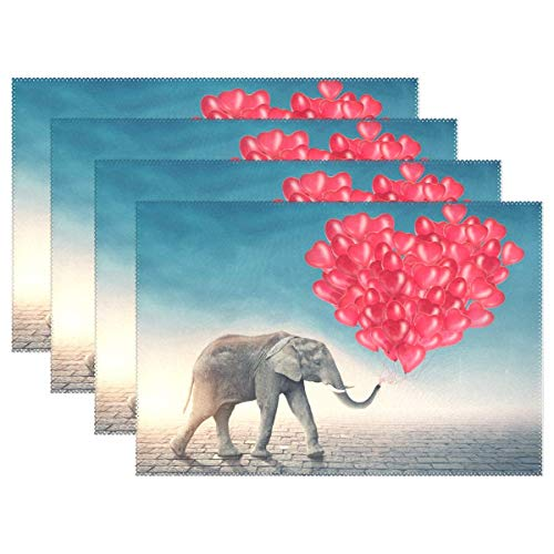 GOODSTHING Tischset, Valentines Day Elephant Placemats for Dining Table Heat Resistant Kitchen Table Decor Washable Table Mats Set of 4