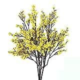 Nahuaa Flores Artificiales Exterior 4 Pcs Arbusto de Plastico Gypsophila Artificial Tela Guirnaldas Flores Decoración Boda Jardín Celebración Regalo Boutonniere Arreglos Florales