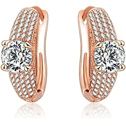 Jewels Galaxy Exclusive Luxuria Elegant AAA Quality Austrian Diamond 18K Rose Gold Fascinating Pair Of Earrings For Women/Girls