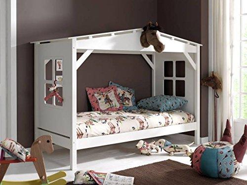 *Vipack Spielbett Pino, 90 x 200 cm, Haus, Kiefer teilmassiv, weiß lackiert*