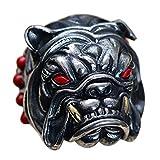 ForFox Anillo de Bulldog Francés Animal Joyería de Plata esterlina 925 Negro con Piedras para Hombres Ajustable