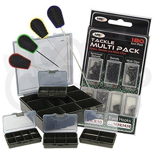 NGT Karpfenangeln 6 + 1 Gerät Kiste mit Köder-Werkzeuge & 180 Stk. Takelendstück set