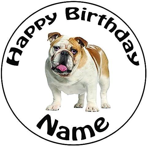 Personalizzato Bulldog–Topper per torta a pre-cut rotondo 8