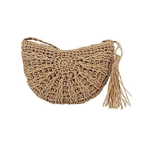 Kaister Mode Frauen Retro Weave Feder Quaste Eimer Tasche Crossover Umhängetasche
