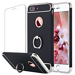 VANCKE iPhone 7 plus Case,3 in 1 Combo Ultra Thin Hard Protective Luxury Case Cover with 360 Degree Rotating Ring Kickstand for iPhone7 plus (Black)