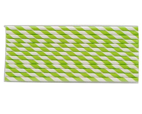 Denshine 25x Papierstrohhalme gestreift Strohhalm Papier Trinkhalm für Hochzeit Party Weihnachten(Grüne Streifen) (Gemusterte Papier Strohhalme)