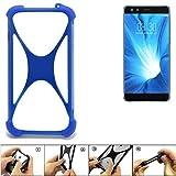 K-S-Trade Bumper für Nubia Z17 Mini S Silikon Schutz Hülle Handyhülle Silikoncase Softcase Cover Case Stoßschutz, blau (1x)