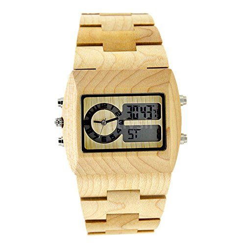 Price comparison product image BEWELL ZS-W021A Bamboo Wood Men Quartz Watch with Analog-Digital Display Rectangle wood watch
