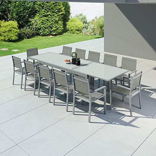 Avril Paris Hara XXL - Table de Jardin Extensible Aluminium 200/320cm + 12 fauteuils textilène Argentée