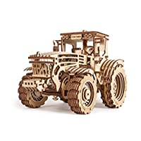 Wood Trick Wooden Toy Tractor Friction Powered / 2 Speeds, 3D Tractor Puzzle Wood Model - Mechanical Model - 3D Wooden Puzzle, Assembly Toys, ECO Best DIY Toy