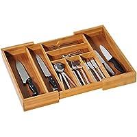 Kesper 5808513 - Cubertero regulable, madera de bambú, 35 x 43 x 6.5 cm