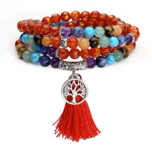 JOVIVI 6mm 108 Perlen Tibetisches Buddha Armband Om Mani Padme Hum Chakra Yoga Schmuck mit Lebensbaum Anhänger Wickelarmband Buddhismus Mala Kette Gebetskette/Karneol