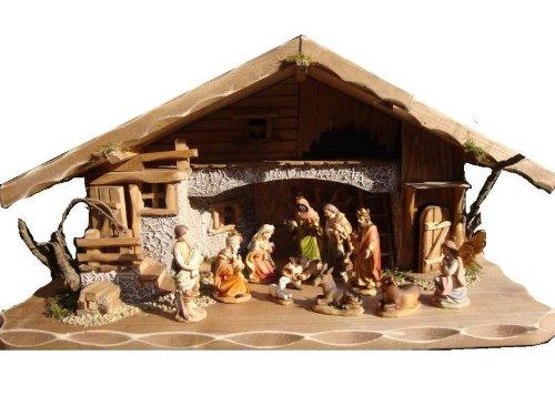 Große Weihnachtskrippe + Zubehör, 60 cm massiv Vollholz Massivholz komplett mit hochwertigen PREMIUM FIGUREN, Krippe mit Figuren und Zubehör, Beleuchtung Krippenställe K60MF