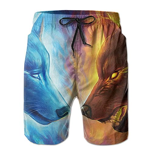 Cool Fire Ice Wolf Men's/Boys Casual Shorts Swim Trunks Swimwear Elastic Waist Beach Pants with Pockets X-Large