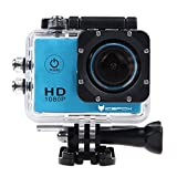 icefox® FHD Underwater Action Camera, 12MP 1080P Waterproof HD Camera with 170° Wide Angle ,1.5 Inch Display, 900mAh Battery and Accessories Kit for Diving, Bicycle, Motorbike, Swimming (Blue)