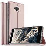 Coque Asus Zenfone 4 Selfie ZD553KL , KuGi Asus ZenFone 4 Selfie Flip Coque Premium PU Housse [Protection Complète] Couverture Multicolor avec support design pour Asus Zenfone 4 Selfie ZD553KL (Or rose)